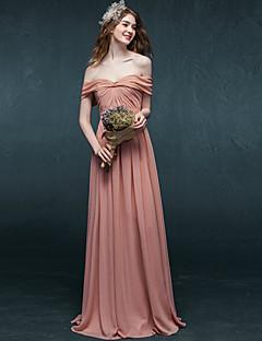포멀 이브닝 드레스 A-라인 오프 더 숄더 바닥 길이 쉬폰 와 주름