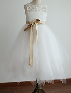 Princess Tea Length Flower Girl Dress - Lace Satin Tulle Sleeveless Scoop Neck with Ribbon