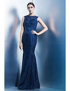 Formal Evening Dress - Dark Navy Trumpet/Mermaid Jewel Floor-length Lace