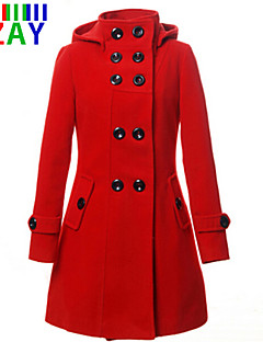 ZAY Women's New Double Breasted Stand Long Sleeve Hooded Slim Coat