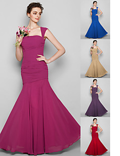 Floor-length Chiffon Bridesmaid Dress - Fuchsia / Royal Blue / Ruby / Champagne / Grape Plus Sizes / Petite Trumpet/Mermaid Square