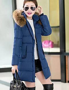 Women's Fashion Fur Hodies Stand Long Sleeve Slim Zipper Warm Down Coat