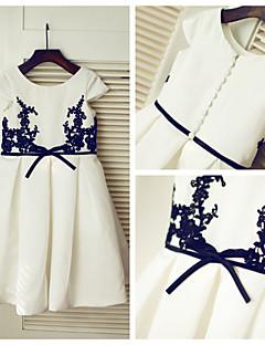 A-line Knee-length Flower Girl Dress - Lace/Satin Short Sleeve