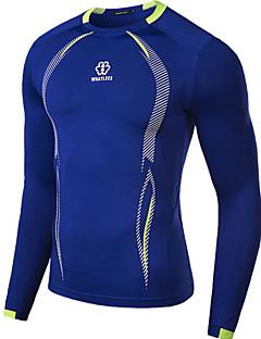 Ademend/Sneldrogend - Heren - Fietsen - T-shirt ( Wit/Grijs/Blauw ) - Lange Mouw Herfst Rekbaar M/L/Xl/Xxl