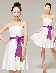 Knee-length Chiffon Bridesmaid Dress - As Picture A-line Strapless