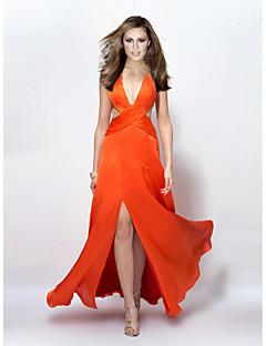 Formeller Abend Kleid - Orange Chiffon - A-Linie - bodenlang - V-Ausschnitt