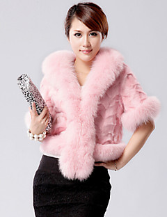 Fur Coats Coats/Jackets Half Sleeve Rabbit Fur/Faux Fur Black/Pink/Burgundy/Dark Brown
