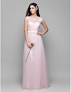 Lanting Bride® Floor-length Lace / Tulle Bridesmaid Dress - A-line Scoop with Lace