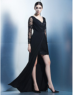 Formal Evening Dress - Black Sheath/Column V-neck Asymmetrical Chiffon / Lace