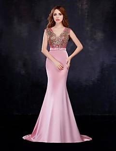 저녁 정장파티 드레스 - 블러슁 핑크 트럼펫/멀메이드 바닥 길이 V넥 사틴/명주그물