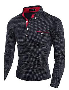 男性用 長袖 ポロシャツ , コットン カジュアル プレイン