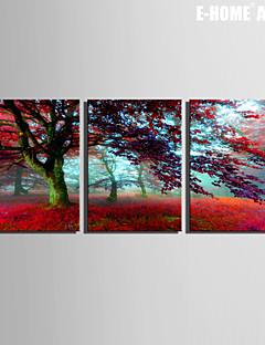 Paisaje / Botánico Impresión de la lona Tres Paneles Listo para colgar , Vertical