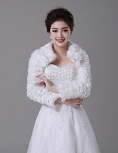 모조 모피 - 결혼식 랩 / 모피 랩 / 퍼 코트 (아이보리