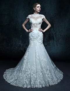 Trumpet/Mermaid Chapel Train Wedding Dress - Scoop Organza