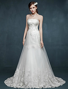 A-line Wedding Dress - White Sweep/Brush Train Strapless Tulle