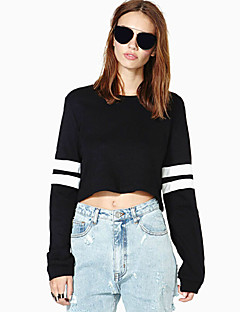 Women's Striped White / Black Hoodies , Sexy / Active Round Neck Long Sleeve
