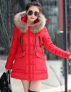 Women's Winter New Pure Color Fur Hoodies Long Sleeve Loose Down Coat