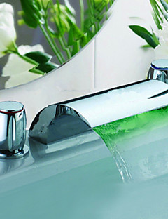 Color Changing LED Waterfall Chrome Finish Widespread Bathroom Sink Faucet