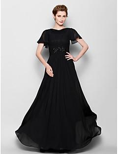 신부 어머니 드레스 - 블랙 A라인 짧은 소매 바닥 길이 쉬폰 플러스 사이즈 / 작음