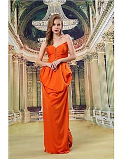 Formeller Abend Kleid - Orange Satin - Duchesse-Linie - bodenlang - Herz-Ausschnitt