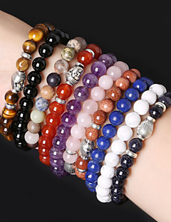 Beadia 1Pc Fashion 8mm Round Stone Elastic Strand Bracelet Silver Buddha Bracelet 10 Colors U-Pick