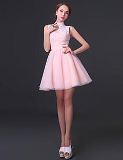 Cocktail Party Dress - Blushing Pink Ball Gown High Neck Short/Mini Chiffon / Lace