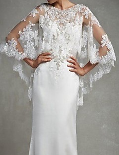 Wedding  Wraps Capelets Sleeveless Lace Ivory / White Wedding / Party/Evening Scoop Appliques Hidden Clasp