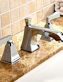 Brass Chrome Three Holes 8 Inch Widespread Bathroom Mixer Taps Basin Faucet
