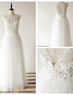 A-line Wedding Dress - Ivory Floor-length Scoop Tulle