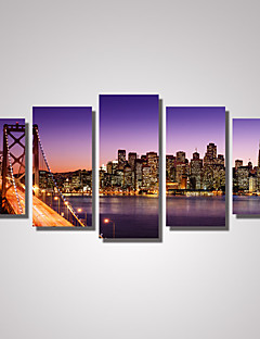 5 Panels San Francisco Bay Bridge Picture Print  Modern Wall Art on Canvas Unframed
