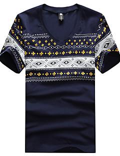 Men's Print Casual T-Shirt,Cotton Short Sleeve-Black / Blue / White