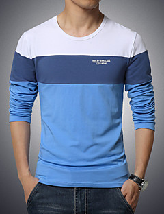 Men's Casual Solid Color Stitching T-Shirt