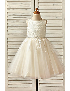 Lace Flower Girl Dress A-line Knee-length - / Tulle Sleeveless Scoop with Appliques / Beading