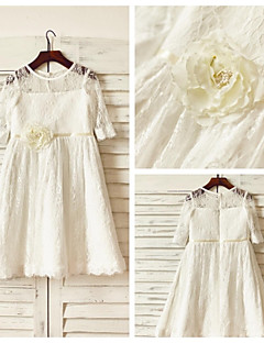 A-line Knee-length Flower Girl Dress - Lace Half Sleeve