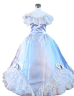 One-Piece/Dress Gothic Lolita Steampunk® / Victorian Cosplay Lolita Dress Sky blue Solid Sleeveless Long Length Dress For WomenSatin /