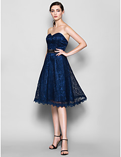 Lanting Knee-length Lace Bridesmaid Dress - Dark Navy Plus Sizes / Petite A-line Sweetheart
