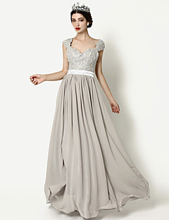 Formal Evening Dress - Silver A-line Queen Anne Floor-length Chiffon