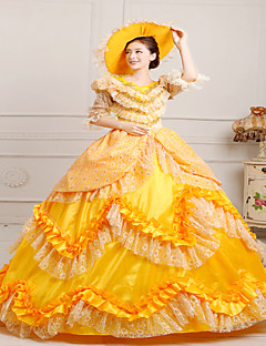 Steampunk®Classic 18th Century Marie Antoinette Inspired Dress Yellow Victorian Dress Halloween Party Dress