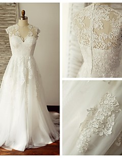 A-line Wedding Dress - Ivory Sweep/Brush Train V-neck Lace / Tulle