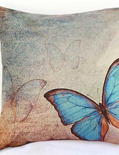 couverture bleue papillon taie d'oreiller canapé décoration de la maison de coussin (17 * 17 pouces)