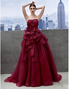 Vestido - Vinho Festa Formal Linha-A Curação Cauda Longa Organza