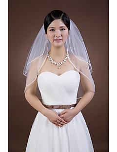 웨딩 면사포 두층 팔꿈치 베일 펜슬 가장자리 명주그물 화이트 화이트 / 아이보리