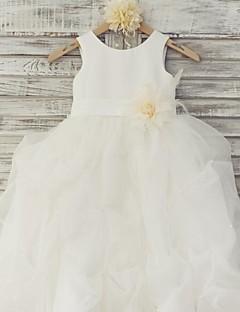 Ball Gown Floor-length Flower Girl Dress - Organza / Satin Sleeveless Scoop with