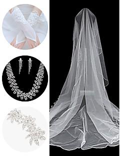 Set Hochzeit Zubehör (Schleier& Handschuhe& Kopfschmuck& Halskette& Ohrringe)