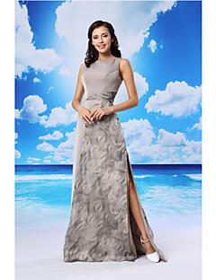 Formeller Abend Kleid - Silber Organza / Satin - A-Linie - bodenlang - Juwel-Ausschnitt