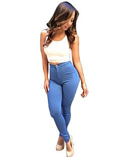 Kvinner Fritid Jeans Bukser Denim Uelastisk