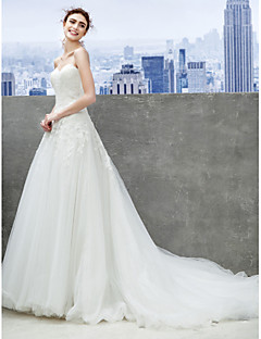Lanting A-line Wedding Dress - Ivory Chapel Train Sweetheart Tulle