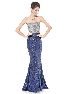 vestido de noite formal - Piscina trompete / sereia sem alças do assoalho-comprimento de cetim / lantejoulas