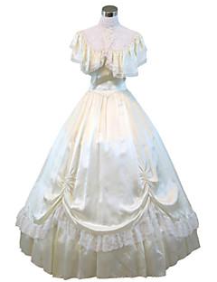 Un Pezzo/Vestiti Gotico Steampunk® / Vittoriano Cosplay Vestiti Lolita Beige Tinta unita Maniche corte Lungo Abito Per Da donnaRaso /