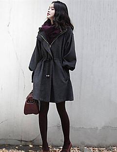 婦人向け 秋 ソリッド コート,プラスサイズ サープリスネック グレイ コットン / その他 長袖 ミディアム